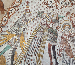 The Pope is beheaded. Fresco in a Danish church. Mostphotos.